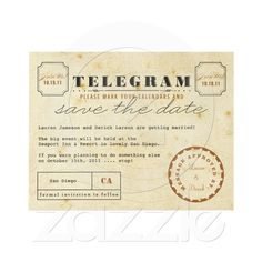 Vintage Telegram Save the Date Announcements from Zazzle.com