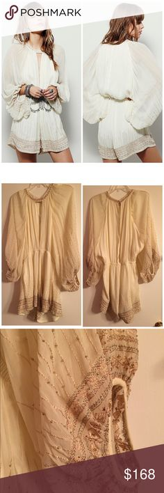 NWT Free People Butterfly Kisses Romer Kromper M NWT. Size medium. Gorgeous romper from Free People. Open to offers via offer button. I do give a bundle discount (more FP in my closet)! No trades please. Free People Pants Jumpsuits & Rompers