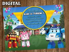 Robocar Poli  Digital Party Invitation Custom Personalized
