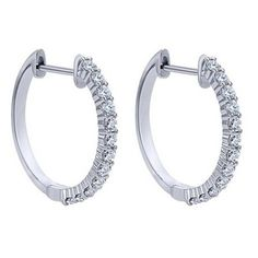 "Buffalo, NY Gabriel 14K White Gold ""Classic Hoop"" Diamond Hoop Earrings Featuring 0.51 Carats Round Cut Diamonds. Style EG12228W45JJ"