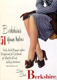 A lovely Berkshire hosiery ad from 1946 (love those shoes!). #vintage #1940s�