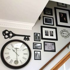 14 insanely creative ways to fill your empty stairway walls stairway gallery wall and entryway makeover, foyer, repurposing upcycling, stairs, wall decor Stair Wall Decor, Stairwell Wall, Key Wall Decor, Wall Decor For Stairway, Stairwell Pictures, Stairway Photos, Diy Wall, Wall Art, Stairway Decorating