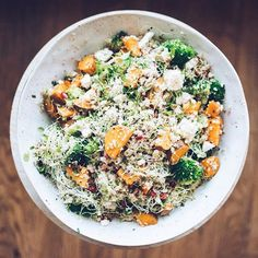 Jamie Oliver's superfood salad with broccoli, sweet potatoes, mixed nuts, avocado and feta cheese