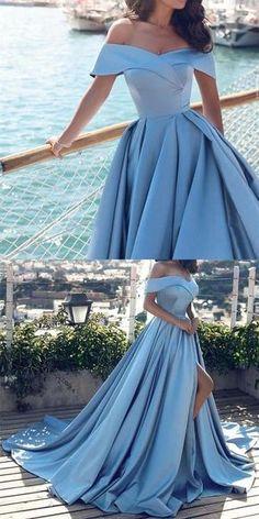 Sexy Light Blue Satin Prom Dress,Off Shoulder Long Prom Dress,Evening Dresses - Long prom dresses Blue Party Dress, Prom Dresses Blue, Pretty Dresses, Beautiful Dresses, Wedding Dresses, Blue Gown, Elegant Dresses, Unique Formal Dresses, Vintage Prom Dresses