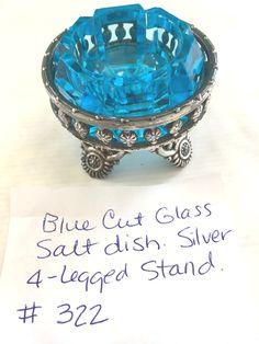 Blue Cut Glass Salt Dish that fits into a Silver Decorative Stand Salt Cellars, Condiment Sets, Tea Sets, Salt Pepper Shakers, Antique Glass, Salts, Cut Glass, Spoons, Syrup