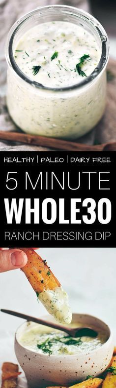 Easy 5 minute creamy ranch sauce is dairy free, whole30, paleo, and easy to make! Perfect for drizzling on salads or wraps and dipping veggies! Dairy Free Ranch Recipe, Dairy Free Recipes, Real Food Recipes, Vegetarian Recipes, Cooking Recipes, Healthy Recipes, Gluten Free, Cheap Recipes, Cooking Food