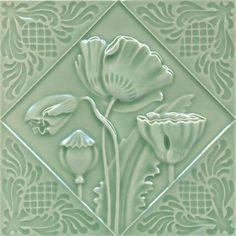 Art Nouveau Flower Tile by Gilliot et Cie Heimixen Belgium Antique Tiles, Vintage Tile, Tile Art, Wall Tiles, Tile Mosaics, Azulejos Art Nouveau, Art Nouveau Tiles, Green Art, Decorative Tile