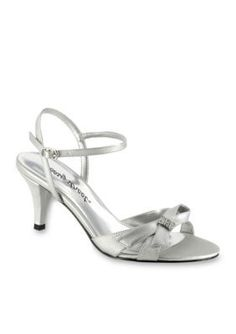 Easy Street Silver Satin WStones WDance Sole Starlet Evening Sandal