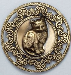 """Large Stamped Brass Victorian Style Kitten Picture Button 1 3 4"""" Inch 