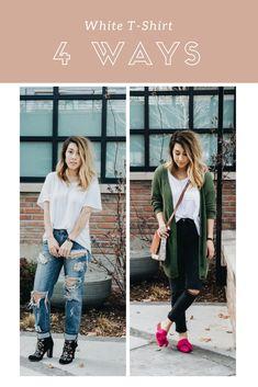 How To Style: A White Tee 4 Ways // Tabitha Lane: Fashion Blogger #momiform #casualstyle #streetstyle