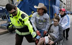 "Pic of two principal Boston Marathon Bombing [hoax] crisis actors - ""Cowboy Man"" and a amputee actor. Pic attribution - http://parade.condenast.com/273380/linzlowe/the-man-in-the-cowboy-hat-boston-marathon-hero-carlos-arredondo-shares-his-story/"