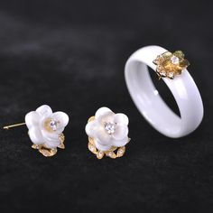 Blucome CZ Zircon Ceramic Jewelry Sets Earrings & Rings Women Man White/Black Porcelain Rose Flower Aretes Wide Aros Anel Bijoux Oh just take a look at this!Visit our store --->  http://www.jewelryabo.com/product/blucome-cz-zircon-ceramic-jewelry-sets-earrings-rings-women-man-whiteblack-porcelain-rose-flower-aretes-wide-aros-anel-bijoux/ #shop #beauty #Woman's fashion #Products #homemade