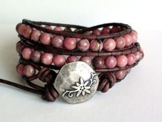 Warm and Earthy Pink Leather Wrap Bracelet 3x by TaphiaDesigns