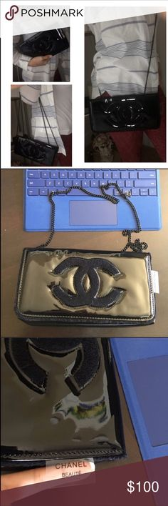 Chanel VIP gift bag Brandnew! Chanel BEAUTE VIP gift make up with silver  chain and black shiny Faux patent leather. Chanel BEAUTE clear tag Faux  patent ... b53e78fc8c