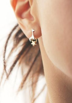 giraffe with gold star stud earrings by onceuponaCHO on Etsy, $29.00
