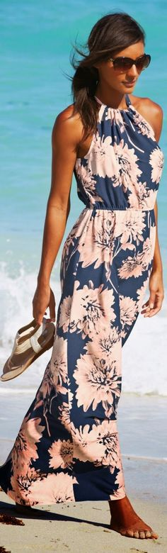 LoLus Fashion: Floral Sleeveless Maxi Dress On The Beach