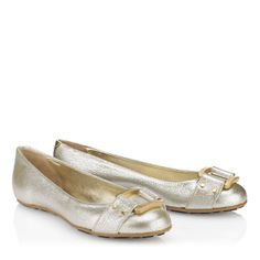 Jimmy Choo - Morse - 247morsegle - Champagne Glitter Leather Ballerinas