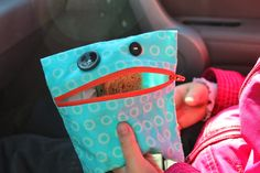 """""""Snack Monster"""" reusable snack bag tutorial by HaftaCrafta. Reusable Sandwich Bags, Reusable Bags, Fabric Snack Bags, Monster Snacks, Hand Sewing Projects, Sewing Ideas, Sewing Patterns, Diy Snacks, Produce Bags"""
