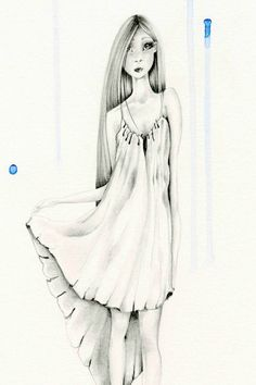 Fashion Illustration OOAK Pencil Drawing and by ABitofWhimsyArt, $200.00