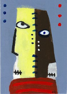 the oracles saw but would not say e9Art ACEO Outsider Folk Art Brut Painting Myth