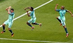 Portugal's Cristiano Ronaldo, Nani and João Mário celebrate Ronaldo's first goal, and Portugal's second, in the draw with Hungary. Iceland's late winner against Austria meant Portugal finished third in Group F, scraping into the last 16 Lyon, Portugal Euro 2016, Portugal Team, Portugal Soccer, Cristiano Ronaldo Junior, Uefa Euro 2016, Follow The Leader, Best Tweets, International Football