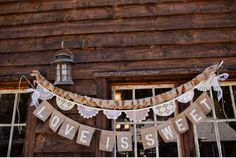 love is sweet bunting in burlap and lace.
