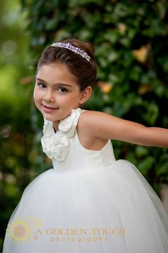 Crystal Rose Front, Scooped Back Dupioni Silk Tutu dress with full gorgeous bow, decadent flower girl gown. $245.00, via Etsy.