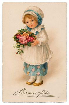 Euro Ellen Clapsaddle - Girl Holding Roses