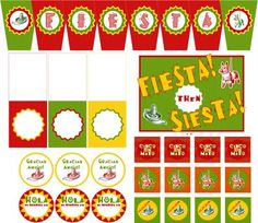 Cinco De Mayo Printables (banner, tented food cards, thank you favor tags, cupcake toppers, yard sign, Spanish name tag)