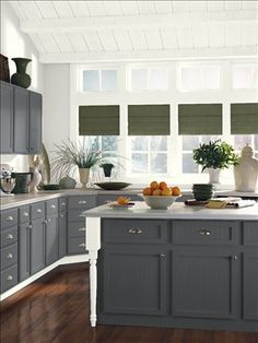 Benjamin Moore Ambler Slate CW-685 kitchen island