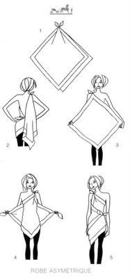 Cute idea to try with a scarf or square piece of fabric