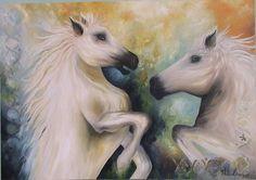 Quadro � �leo - Casal de Cavalos II