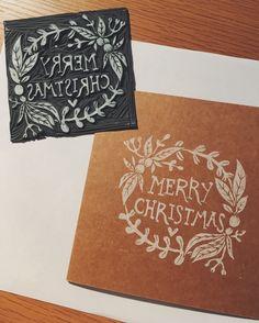 Merry Christmas, Diy Christmas Garland, Christmas Labels, Christmas Cards To Make, Xmas Cards, Stamp Carving, Linoprint, Linocut Prints, Making Ideas