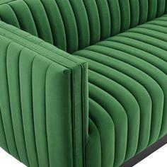 Modway Velvet Sofa EEI3885EME Emerald   Appliances Connection Velvet Tufted Sofa, Upholstered Sofa, Sofa Set Designs, Sofa Design, Seat Cushion Foam, Inexpensive Furniture, Living Room Sofa, Living Spaces, Fabric Sofa