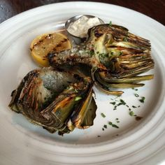 Food of the Week: Wood Grilled Castroville Artichoke from Farmstead, a restaurant from Long Meadow Ranch Winery in the heart of Napa Valley.