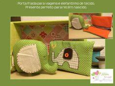 Porta fralda para viagens e elefantinho de tecido - presente lindo para recém nascido - Além Brasil