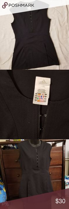"ADIDAS Black Tennis Dress ADIDAS Black Tennis Dress in Medium Plastic clasps in front Length: 29.5"" Chest: 17.5"" adidas Dresses"