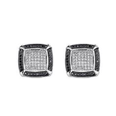 .925 Sterling Silver CZ Micro Pave Contrast Square Shimmering Stud Earrings at Goldenmine.com, $33.95