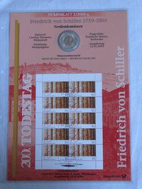 Coin Sheets. coin and Stamp Collection,   philatelic numismatic cover. German coin and stamps Set No. 2 2005 200th anniversary Friedrich von Schiller. with a 10 € commemorative coin. http://www.sammler-und-hobbyshop.eu/2/2005-Friedrich-von-Schiller-1759-1805
