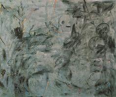"""Osvaldo Oberhurber - senza titolo -  La composizione è piena di suggestioni di morte: teschi, figure umane inghiottite in una sorta di gorghi pittorici, animali sospesi nel vuoto. E' come se la """"terra incupita"""" stesse per risucchiare tutto."""