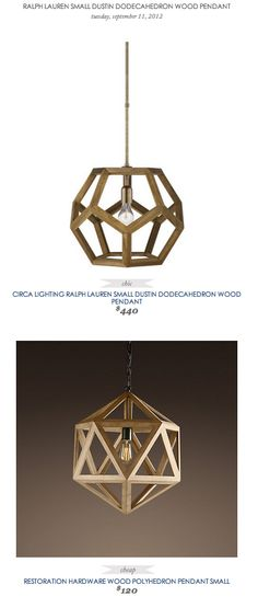 COPY CAT CHIC FIND: Circa Lighting Ralph Lauren Small Dustin Dodecahedron Wood Pendant VS Restoration Hardware Wood Polyhedron Pendant Small