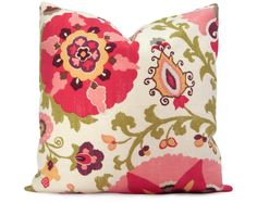 Suzani Pillow Cover in Red, Raspberry, Green, and Purple from Stitched Nestings on etst
