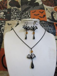 Starry Night Gothic Flying Bat Beaded Dangle Earrings and Charm Necklace Set