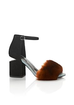 ALEXANDER WANG ABBY SUEDE AND FUR SANDAL WITH RHODIUM Heels Adult 12_n_f