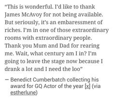 Ben's speech for Actor of the year at the GQ Awards