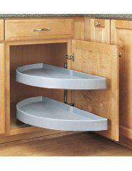 Modern Kitchen Design Rev-A-Shelf 6842 series half-moon 2 shelf blind corner lazy susan, diameter, includes standard and hinge euro brackets and chrome plated shaft and mounting brackets, 2 shelves and pivot hardware. Kitchen Cabinet Organization, Storage Cabinets, Kitchen Storage, Organization Ideas, Cabinet Ideas, Shelf Ideas, Diy Cabinet Doors, Cupboard Ideas, White Cabinet