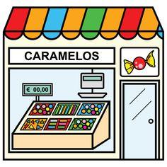 Bits de imágenes para reconocer las tienda de la ciudad Paper Doll House, Paper Dolls, Community Places, Community Helpers, Montessori Materials, School Colors, English Vocabulary, Cool Baby Stuff, Spanish