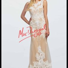 MacDuggal Nude and Ivory Lace Dress NWT Nude with white lace and beading. Never worn. Comes with a nude scarf. There is a small tear in the nude mesh near the bottom. It can easily be fixed by sewing a piece of lace over it. Size 8. Would be great for prom, pageant, or wedding. MacDuggal Dresses