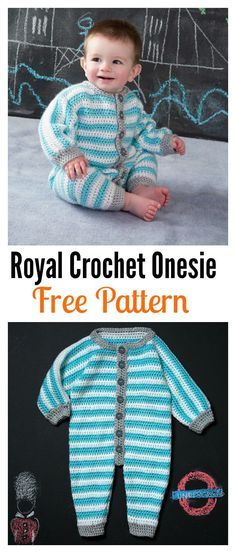 Crochet Dresses Patterns Royal Crochet Onesie Free Pattern - Rompers look adorable on any baby or toddler. Here are some Crochet Baby Romper Free Patterns for you if you have little ones in your life. Crochet Onesie, Crochet Bebe, Crochet Gifts, Free Crochet, Crochet Toddler, Crochet For Boys, Crochet Children, Baby Romper Pattern, Zeina