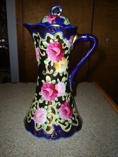 Antique Royal Kinran Nippon Chocolate Tea Pot Hand Painted Marked 1906 Roses | eBay